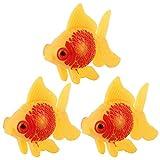 Aquarium Poisson Plastique Natation Poisson D'or Décoration Jaune Rouge 3 Pcs