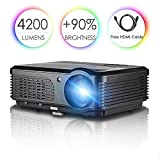 High Resolution WXGA LED Projector Full HD 1080P Support 4200 Lumens Home Cinema Projectors with HDMI USB VGA  AV Audio Out for Iphone Ipad Mac Android Phone Tablet PC Laptop DVD Bluray Player TV Box Game Console Digital Movie Game Projector