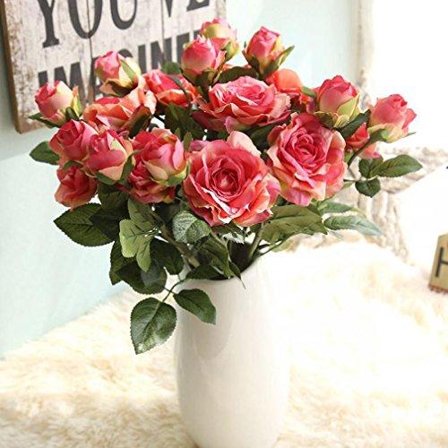 Longra Wohnaccessoires & Deko Kunstblumen & -pflanzen Künstliche Flanell Touch Rose Blumen für Hochzeit Party Home Design Bouquet Dekor Blumen (hot pink)