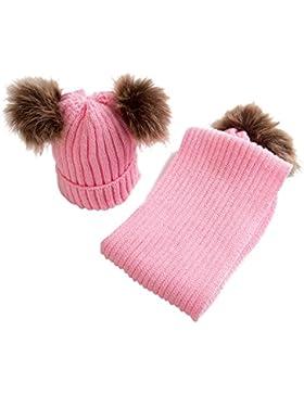 OverDose Nette Baby Kids Hut Warm Strick Woolen Ball Cap Hüte Mützen + Schal Keep Warm Set