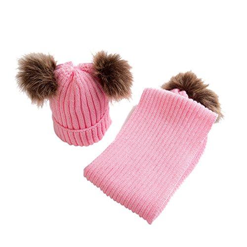 OVERDOSE Nette Baby Kids Hut Warm Strick Woolen Ball Cap Hüte Mützen + Schal Keep Warm Set (0-36 Monate, A-Pink)