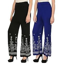 Haniya Free Size Combo of Printed Viscose Palazzos for Women (Black & Blue)