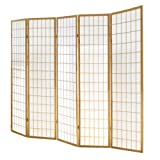 PEGANE Paravento giapponese Shoji in legno naturale di 5 pannelli