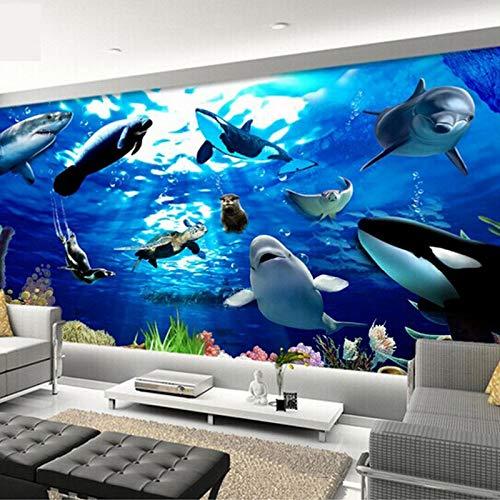 Syssyj Gewohnheit Irgendeine Größe 3D Stereoscopic Seabed Marine Animals Dolphin Großes Wandbild Schlafzimmer Wohnzimmer Kinderzimmer Decken Fototapete-400X280CM -