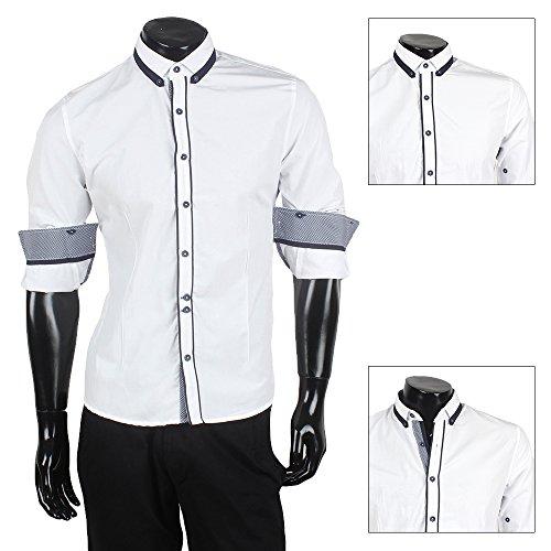 Coonless Herren Slim Fit Hemd T-Shirt Poloshirt Party Weiß-Dunkelblau