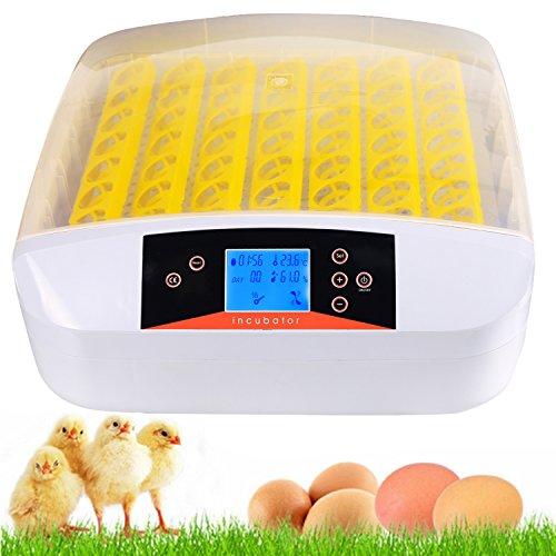 Pujuas 56 Eier Inkubator Brutmaschine Vollautomatisch Brutapparat Brutgerät Motorbrüter Ei Brüter Flächenbrüter Brutkasten, Eier Brutautomat mit LED Temperatur und Feuchtigkeitsregulierung
