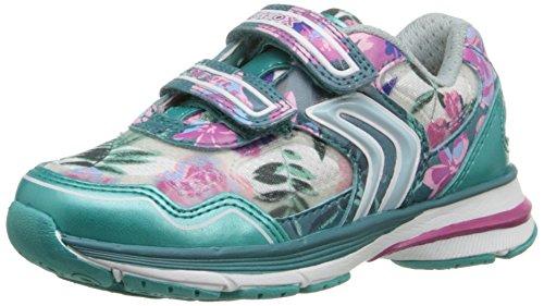 Geox J TOP FLY GIRL A, Mädchen Sneakers, Mehrfarbig (TURQUOISE/FUCHSIACN48N), 26 EU