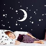 Grandora W5524 Wandtattoo Mond Sterne I gelb I Mächen Jungen Kinderzimmer Schlafzimmer Aufkleber selbstklebend Wandaufkleber Wandsticker