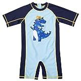 CharmLeaks Baby - Einteiler Kurzarm Badeanzug für Säugling Kinder Dino UV-Schutz Blau 50+ 2-3 Jahre