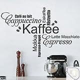 DESIGNSCAPE® Wandtattoo Kaffee Wortwolke Schriften: Capuccino, Espresso, Café au lait, Eiskaffee, Ristretto, Mokka, Latte Macchiato, Espresso-Frappé 120 x 76 cm (Breite x Höhe) creme DW803322-L-F102