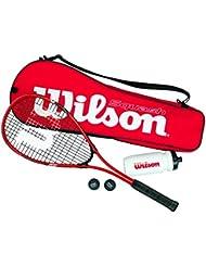 Wilson Squash-Set, Starter, Schläger, Bälle, Trinkflasche, Tasche, Damen/Herren, Starter Squash Kit (Verschiedene Optionen)