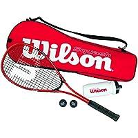 Wilson Kit de Squash Homme/Femme, 1 Raquette, 2 balles, 1 Gourde et 1 Sac, pour Les débutants, Starter Squash Kit, Multicolore, WRT913100