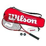 Wilson Squash-Set, Starter, Schläger, Bälle, Trinkflasche, Tasche, Damen/Herren, Starter Squash Kit, WRT913100, Rot/Schwarz
