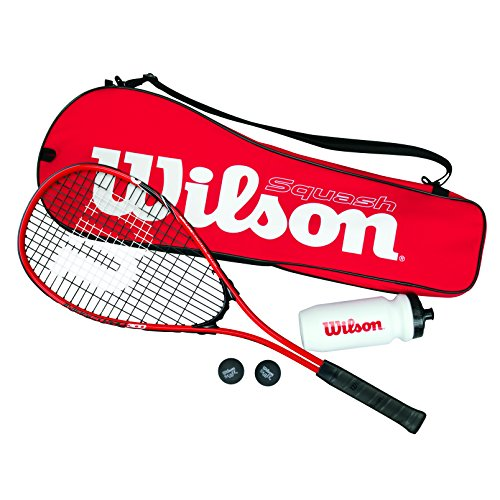 Wilson Squash-Set, Starter, Schläger, Bälle, Trinkflasche, Tasche, Damen/Herren, Starter Squash Kit, WRT913100, Rot/ Schwarz