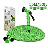 Opard Garden Hose 50ft Water Hose 3 Times Expendable Water Pipe with 7