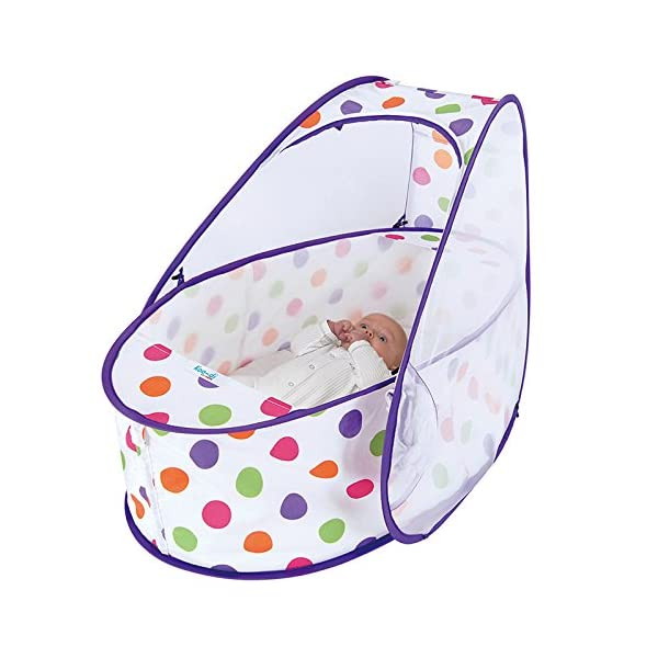 Koo-di 80 x 50 x 58 cm Pop Up Travel Bassinette (Polka Dot)  A comfortable bassinette ideal for use at home and on holidays or weekends away A polycotton travel bassinette Ideal up to 6 months or until baby can sit unaided 3