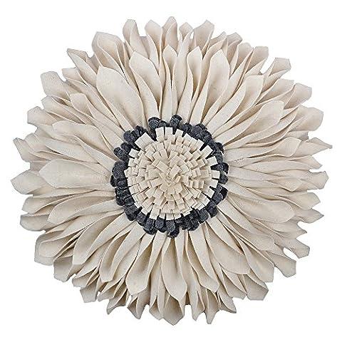 JWH 3D Sonne Blumen handgefertigt rund Kissen Wolle Accent Kissen Hochzeit Home Sofa Auto Büro dekorativer Überwurf-Kissenbezug greamy grau 30,5cm
