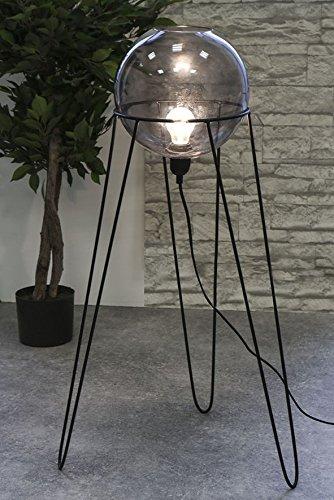 Lampe globe verre fumé A. Pied en métal Noir Hauteur 69 cm, lampadaire, décoration