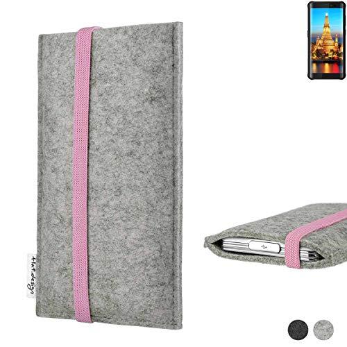 flat.design Handy Hülle Coimbra für Energizer H590S handgefertigte Handytasche Filz Tasche Case rosa hellgrau