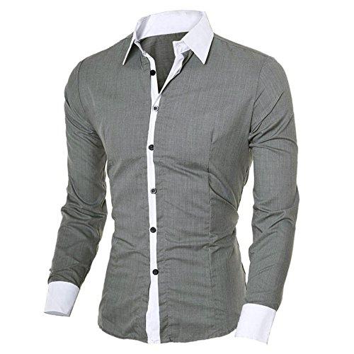 DAY.LIN Herren Hemd Mode Persönlichkeit Männer Casual Schlank Langarm-Shirt Top Bluse Herren Slim Langarm-Shirt (Grau, M=EUS)