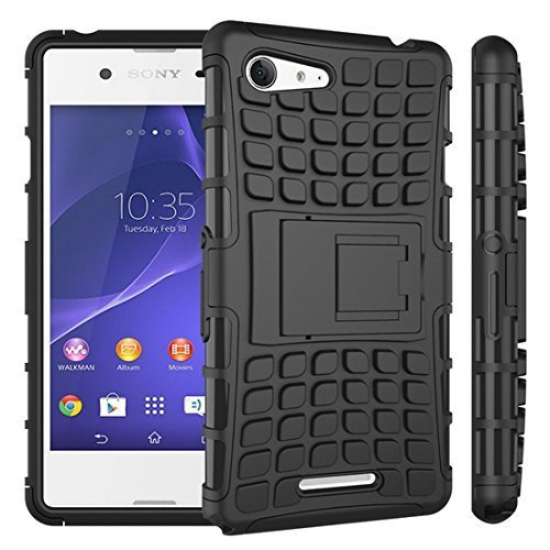 Sony Xperia E3, Dekkin Shockproof Impact Protection Tough Rugged Dual Layer Protective Case Cover with Kickstand for Sony Xperia E3 - Black