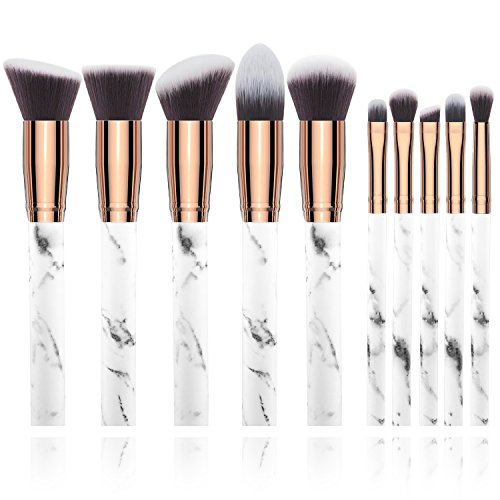 BeeViuc Pinceaux à maquillage Professional 10 Pieces Foundation Blush Powder Eye shadow Blending Brushes Cosmetic Brush Kit - Marble Pattern