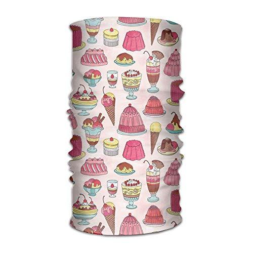 Ice Cream Cake Desserts Pattern Headwrap Men Women Headwear Stirnband Neck Scarf Quick Dry Do Rag Cap Magic Head Scarf Bandana Personal Headdress Face Mask Neck Gaiter Band-do-rag