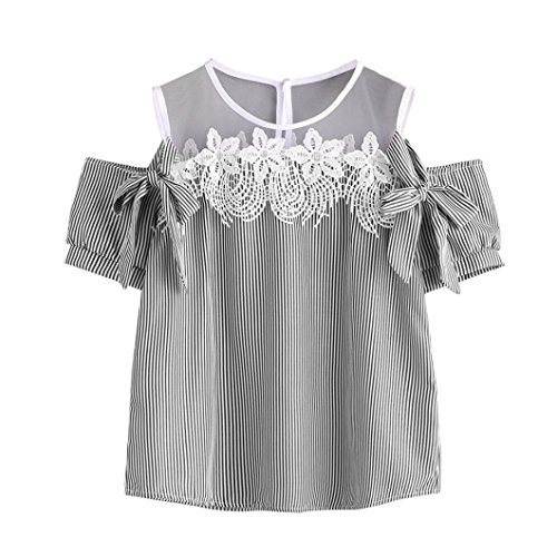 Ularma ❀ Damen Spitze Cold Shoulder T-Shirt mit Mesh Streifen Lace Up Top Bluse Schwarz