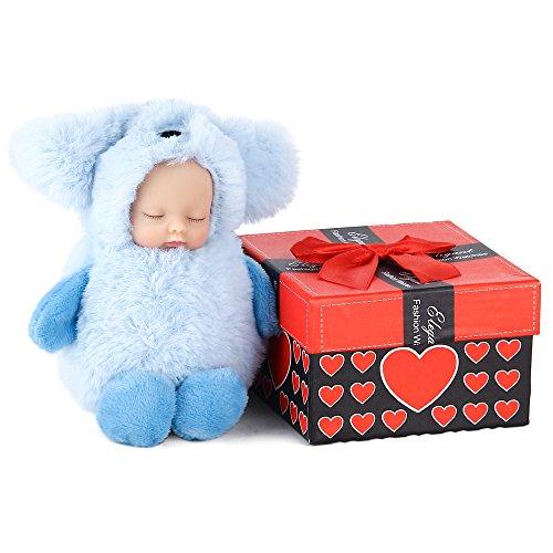 Lebensechte realistische Baby Doll - AOKE Mini Schöne flauschige schlafende Hundekopf Baby Keychain Anhänger Kinder Tasche Charm Mädchen Rucksack Schlüsselanhänger Ornament Ocean Blue