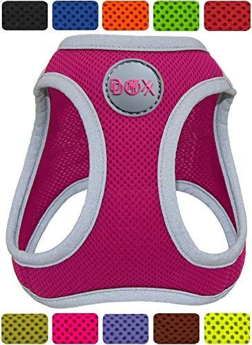 DDOXX Brustgeschirr Air Mesh, Step-In, reflektierend, verstellbar, gepolstert | viele Farben & Größen | für kleine & mittlere Hunde | Hunde-Geschirr Hund Katze Welpe | Katzen-Geschirr | Pink, S