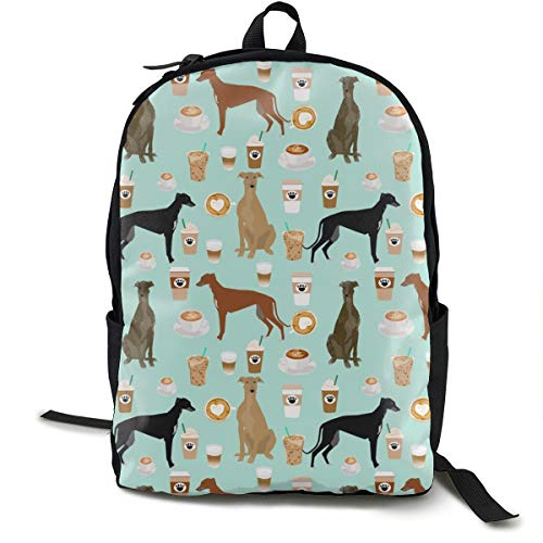 Greyhound And Coffee Fabric - Cute Dogs And Coffees Fabric - Light Blue Adult Premium Travel Backpack, Water-Resistant College School Bookbag, Sport Daypack, Outdoor Rucksack, Laptop Bag for Men&Women