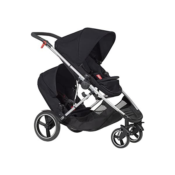phil&teds Voyager Buggy Pushchair, Black phil&teds 4-in-1 modular seat! the most adaptable seat yet with four modes, parent facing, forward facing, lie Revolutionary stand fold with 2 seats on. Adjustable handlebar with hand-mounted brake Double kit easily converts to lie flat mode as well. 4
