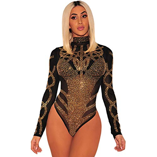 Glamur Damen Sexy Dessous Stehkragen Langarm HeißEs Bohren Transparent Eng Sexy Einteiler ()