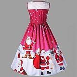 Christmas Dresses, Longra Womens Santa Claus Printed Gifts Xmas Sleeveless A Line Party Dress(Red,L)