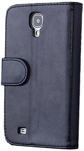 iCues Samsung Galaxy S4 |  Geldbeutel Tasche Schwarz | [Display Schutzfolie Inklusive] Leder - Imitat Book Klapphülle Schutz Etui Handytasche zum aufklappen Flip Case Schutzhülle Booklet Hülle Wallet
