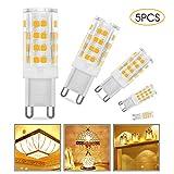 Migimi G9 LED Lampe, 5er Pack 5W Warmweiß G9 LED Leuchtmittel Kein Flackern 350 Lumen 3000K, Ersatz für 28W 33W 40W G9 Halogen Lampen, 360° Abstrahlwinkel [Energieklasse A+]