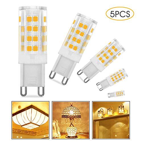 Migimi G9 LED Lampe, 5er Pack 5W Warmweiß G9 LED Leuchtmittel Kein Flackern 350 Lumen 3000K, Ersatz für 28W 33W 40W G9 Halogen Lampen, 360° Abstrahlwinkel [Energieklasse A+] - Halogen-kompakt