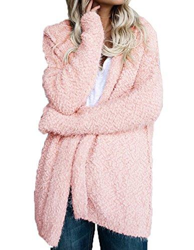 LemonGirl Womens manches longues lâche Fuzzy Cardigan à capuche pull vêtements d'extérieur
