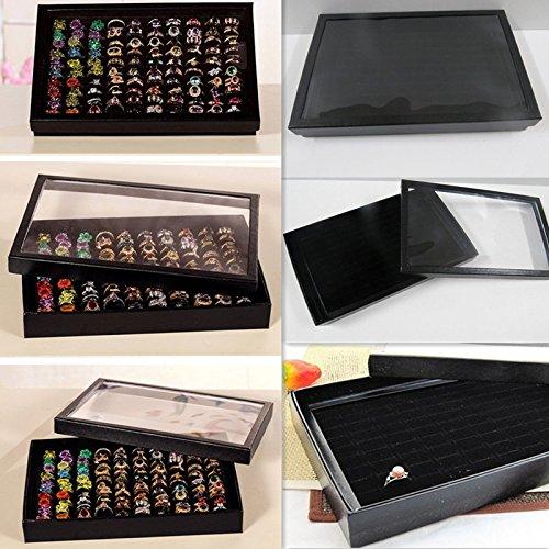 Pygex (TM) 1Pcs100 Slot Cuoio di carta dura di monili, anello di caso di esposizione del vassoio Black Velvet Pad Holder Box di stoccaggio