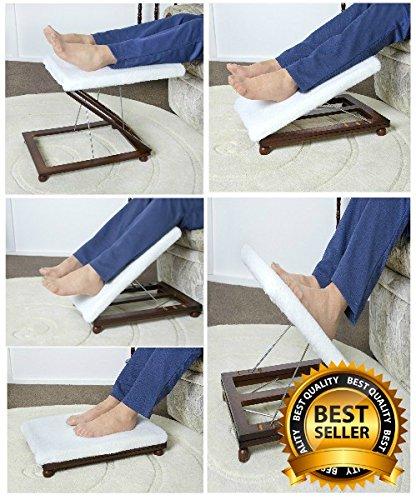 Single Adjustable Angle Foot and Leg Rest / Mahogany