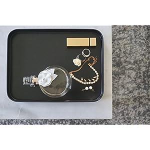 anaan Mimas Vassoio Rettangolare Metallo Acciaio Inossidabile Moderno Gioielli Vassoio Piatto Decorazioni per Colazione caffè 25x19x2.5 cm (Nero)