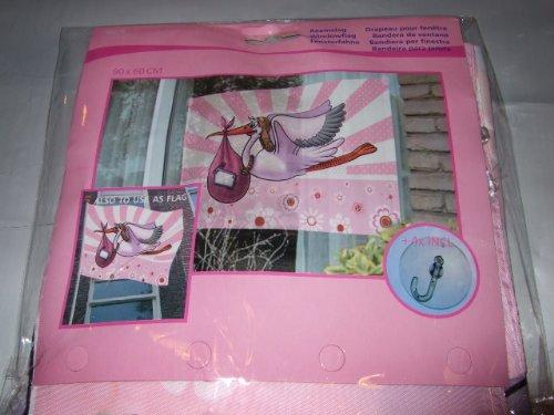 90x60cm Fensterbild Mädchen Storch Geburt
