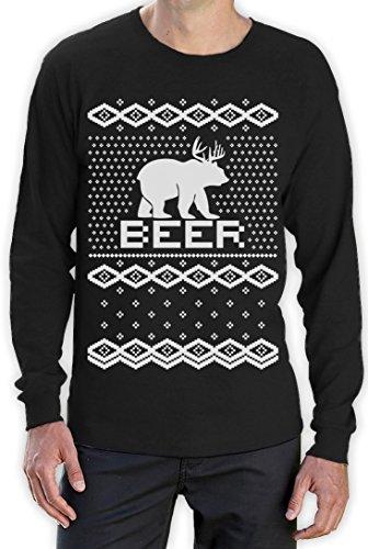 BEAR + DEER = BEER -- Witziger Weihnachtspulli Langarm T-Shirt Schwarz