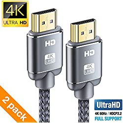 Câble HDMI 4K 2m(2pack) - Snowkids Câble HDMI 2.0 Haute Vitesse par Ethernet en Nylon Tressé Supporte 3D/ Retour Audio-Cordon HDMI pour Lecteur Blu-Ray/Xbox 360/ PS3/ PS4/ TV 4K Ultra HD/Ecran - Gris