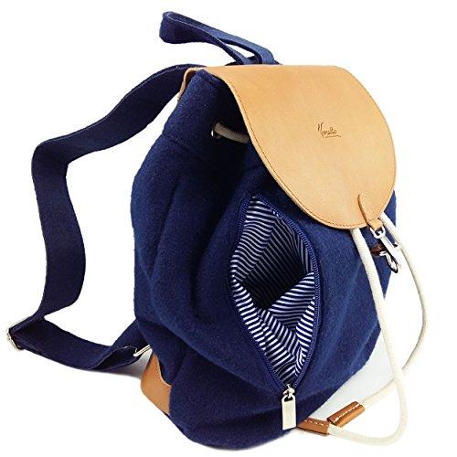 fbff8ad6e4af7 Venetto Designer Rucksack aus Filz und Leder Elementen sehr leicht backpack  unisex Grau Blau dunkel