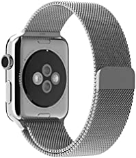 ProElite 42 mm Stainless Steel Milanese Loop Strap with Magnetic Lock Buckle Wrist Band for Apple Watch - Silver [*Watch NOT Included*]