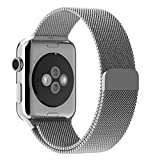 #5: ProElite 42 mm Stainless Steel Milanese Loop Strap with Magnetic Lock Buckle Wrist Band for Apple Watch - Silver [*Watch NOT Included*]