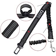 2 Pack Premium car Seat Belt for dogs cats pets, Adjustable Safety Heavy Duty elastic Leads Harness for Cars with Elastic Nylon Bungee Buffer to prevent your puppy from shock attenuation(Black)