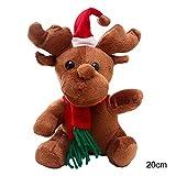 Weihnachts-Plüschpuppe Spielzeug, batteriebetrieben, singendes Rentier mit Schal und Weihnachtsmütze für Zuhause, für den Innenbereich, Tisch, Kamin, Regal