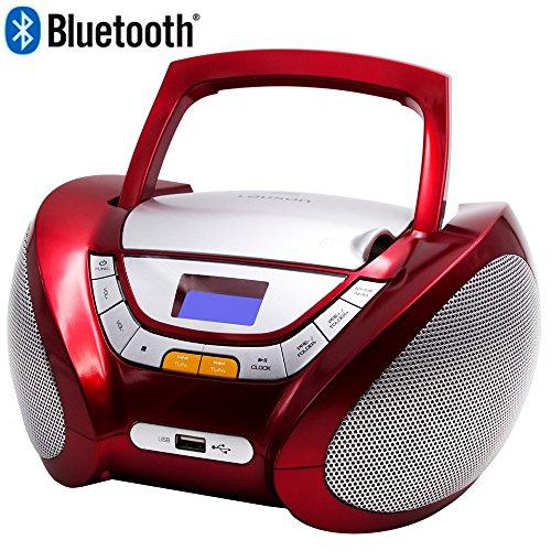 Lauson CP449 CD-Radio Bluetooth mit CD MP3 USB Player Tragbares Kinder Radio Boombox tragbarer CD Player, Rot